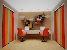 office orange. modern office design with chairs and closet doors in bright red orange colors