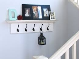 wall mounted shelf for displaying photos with hooks contemporary wood