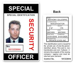 security guard badge template. Special Security Officer PVC ID Card