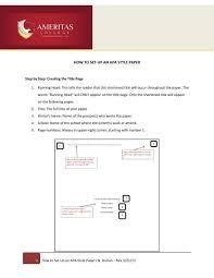 How To Set Up An Apa Style Paper Brandman University