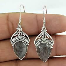 925 sterling silver indian jewelry traditional black rutile gemstone earrings