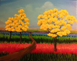 Canvas Painting Pour Paintcanvas Painting Spring Bloom Tickets Mon Jun 12
