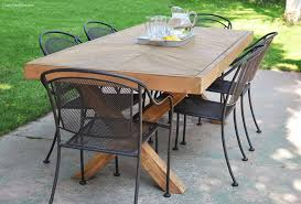 outdoor table with x leg and