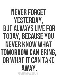 Live For Today Quotes Enchanting Never Forget Yesterday But Always Live For Today Because You Never