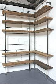 corner wall bookshelf bespoke dark oak stained reclaimed scaffolding boards and steel pipe floor and wall corner wall bookshelf