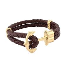 2016 tom hope men s woven leather with gold anchor bracelet