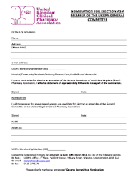 Editable Nomination Form Template For Elections Fill Out Print