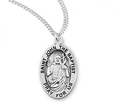 patron saint john the baptist oval sterling silver medal zoom