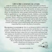 Life Is A Journey Quotes Classy Lessons Learned In LifeLife Is Like A Journey On A Train Lessons