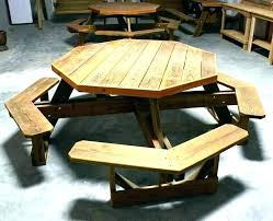 round wooden picnic tables table plans octagon wood image of used for woo