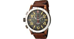 nixon the 48 20 chrono leather the brass tacks collection in metallic lyst