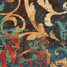 por 225 list orange and turquoise area rug