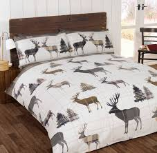 flannelette stag bedding range single double or king size natural multi free delivery over 30 on all uk orders