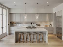 grey kitchen cabinets and island white marble laminated dining table round seat bar stools double handle faucet glass pendant light chain cutting board gas