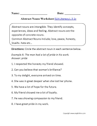 best abstract nouns ideas grammar definition abstract nouns worksheet 1 ela literacy l 3 1c language worksheet