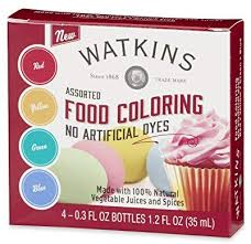 Watkins Assorted Food Coloring 1 Each Red Yellow Green Blue Total Four 3 Oz Bottles
