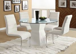 mauna white glass top round dining table furniture of america