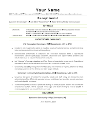 Resume For Front Desk Position Template Receptionist Resume Sample