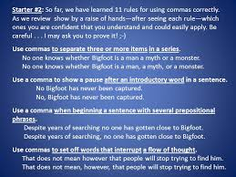 English Tuesday September 25 Handouts Grammar 76 Commas In