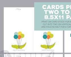 printable children s birthday cards printable boys birthday card childrens birthday card printable alligator with balloons blank inside