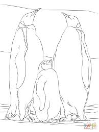 Two adult Emperor Penguins with a juvenile coloring page | Free ...