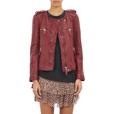 Étoile isabel marant kady washed leather moto jacket in red lyst