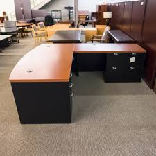 used hon right l shaped executive office desk cherry black del1507