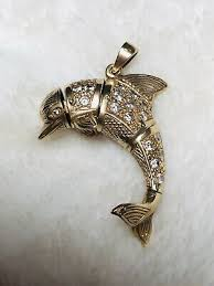 large 9ct gold dolphin pendant 375 9