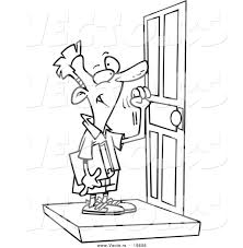 open door clipart black and white. Vector Of A Cartoon Hand Pushing Open Door And Knocking Man Clipart Black White B