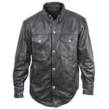 moto leather jacket mens. xelement xs908b men\u0027s black leather shirt with buffalo buttons - leatherup.com moto jacket mens n