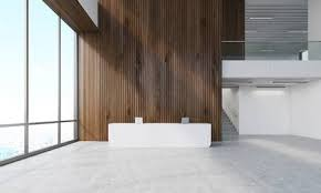 3D Office Design Simple Dark Wood Wall In Office With Reception Counter And Stairs Concept