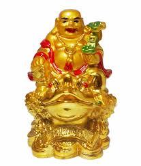Vastu Art Yellow Resin Vastu / Feng Shui / Small Laughing Buddha Sitting On  Money Frog For Happiness, Wealth & Goodluck