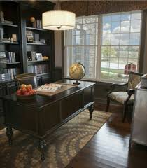 traditional office design. Traditional Home Office Design, Patterned Rug, Sophisticated Accessories, Natural Lighting, Dark Design U