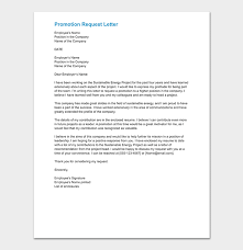 Faculty Promotion Letter Of Recommendation Sample Promotion Request Letter 12 Sample Letters Format