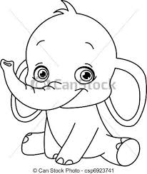 Baby Elephant Drawings Outlined Baby Elephant