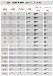 64 Abundant Watters Wedding Dress Size Chart