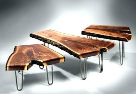 wood and metal coffee table brown unique natural shape industrial style legs bases designs as an reclaimed wrought iron uk