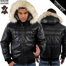 aviatrix bubble hoo hooded fur extreme winter genuine leather jacket black