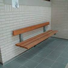 public bench / exotic wood / galvanized steel / wall-mounted