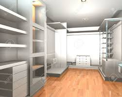 empty walk in closet. Empty Interior Modern Room For Walk In Closet With Shelves And White Wall. Stock Photo E