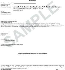 Sample Subcontractor Agreement Mesmerizing General Construction Contract Template Modclothingco