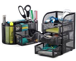 halter steel mesh 2 piece desk organizer set oval desk supply caddy and 3 from