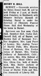 Henry Ernest Hall Obituary, dau Audrey Avis Hall - Newspapers.com