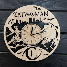 catwoman wall clock wooden home decor hanging gifts unique anniversary nursery art kitchen office kid room birthday catwoman clock clocks for