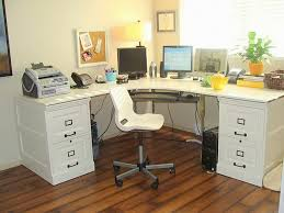 for basement office the pottery barn inspired desk below has painted file cabinet bases which hold the top of a disassembled ikea effektiv desk
