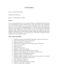 Janitor Resume Duties janitorial description resumes Enderrealtyparkco 1