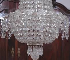 art deco bag and tent cut crystal chandelier with chrome frame