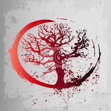 Obraz Kreativní Nápad Tetování Je Strom života červený Gradient