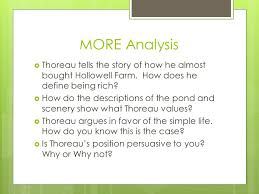 ap lang rd ppt video online  more analysis thoreau tells the story of how he almost bought hollowell farm how does