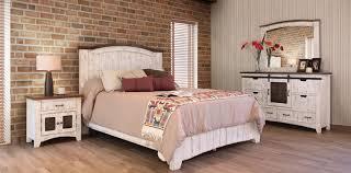 Puebla Rustic White Wash Bedroom Set